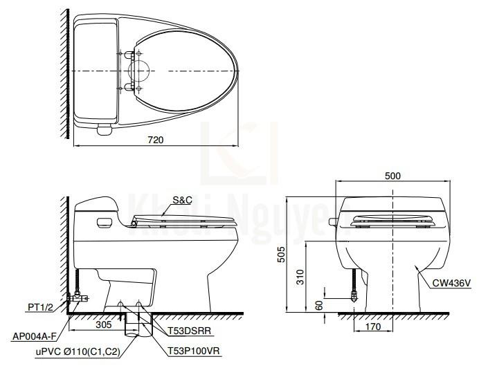 Bản Vẽ Bồn Cầu TOTO MS436T2 1 Khối Nắp TC393VS