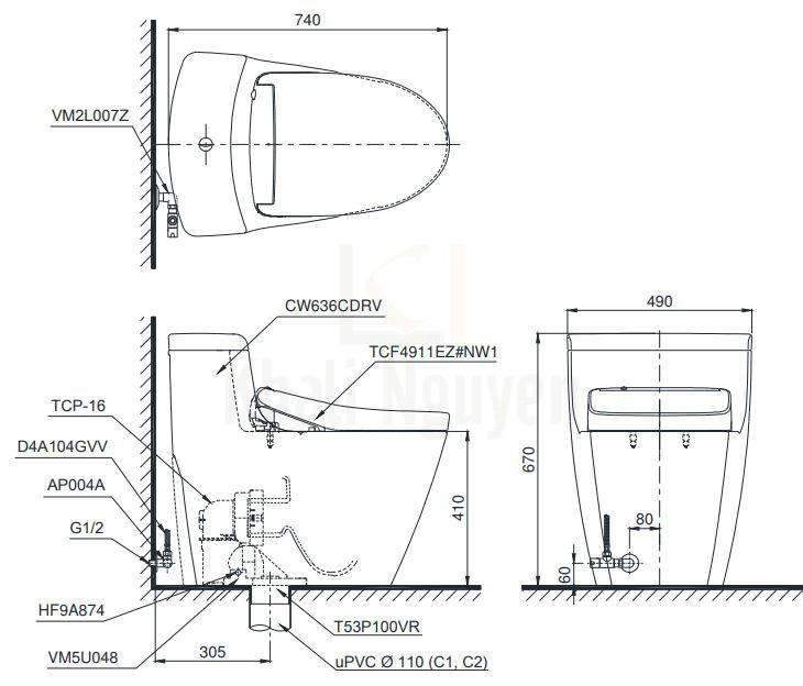 Bản Vẽ Bồn Cầu Điện Tử TOTO MS636CDRW12 Nắp Washlet Giấu Dây