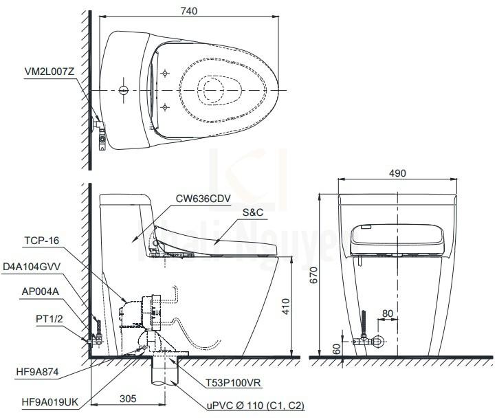Bản Vẽ Bồn Cầu TOTO MS636DT2 1 Khối Nắp TC393VS