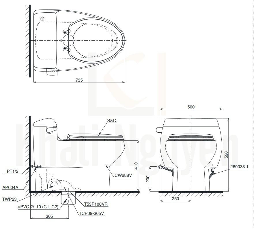 Bản Vẽ Bàn Cầu TOTO MS688E2 Một Khối Nắp Cơ