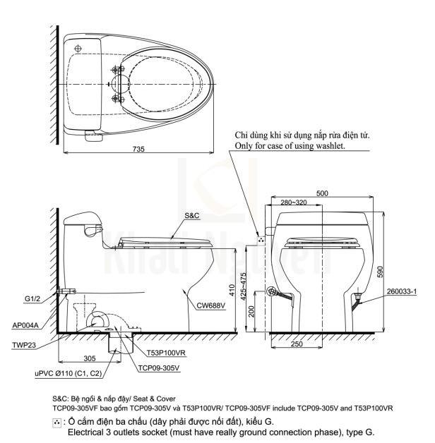 Bản Vẽ Bồn Cầu TOTO MS688E4 Một Khối Nắp Cơ