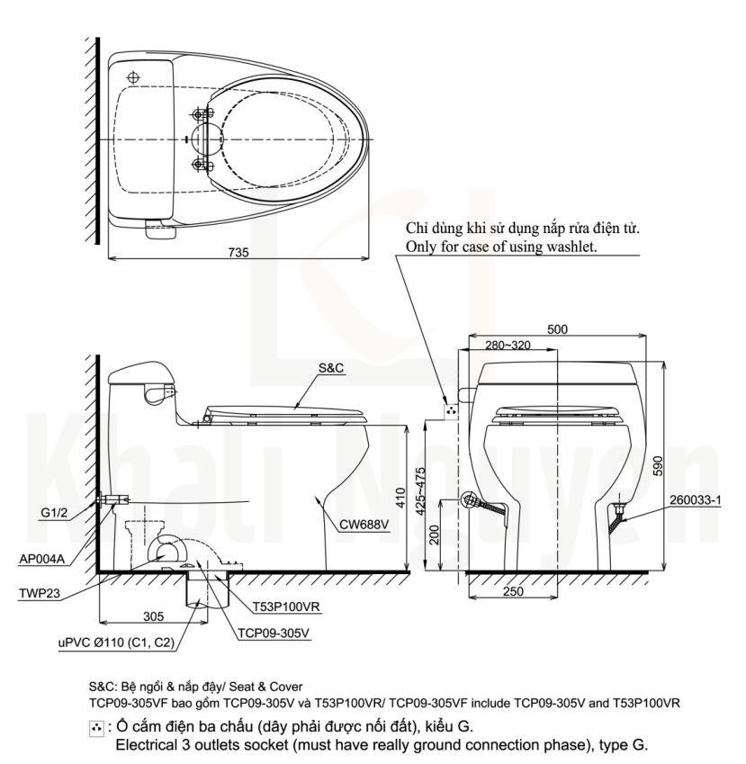 Bản Vẽ Bàn Cầu TOTO MS688T2 Một Khối Nắp TC393VS