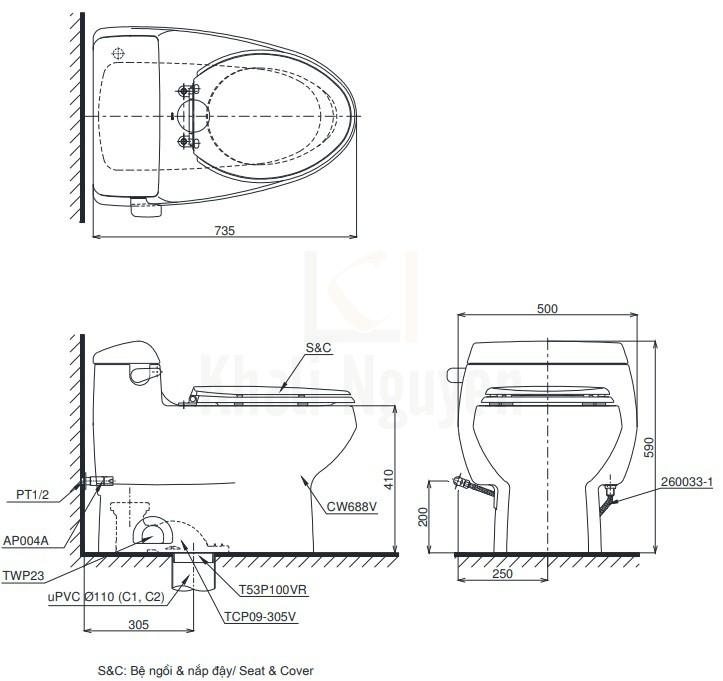 Bản Vẽ Bồn Cầu Điện Tử TOTO MS688W11 Nắp Tự Động Đóng Mở