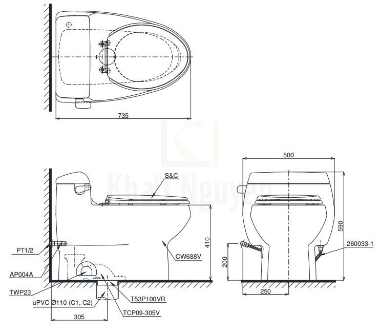 Bản Vẽ Bồn Cầu Điện Tử TOTO MS688W6 Nắp Rửa Washlet