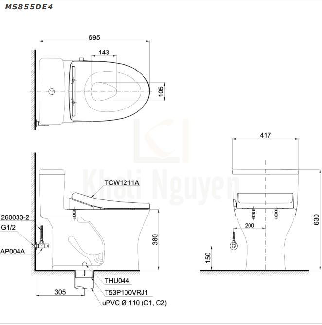 Bản Vẽ Bồn Cầu TOTO MS855DE4 Một Khối Nắp Cơ