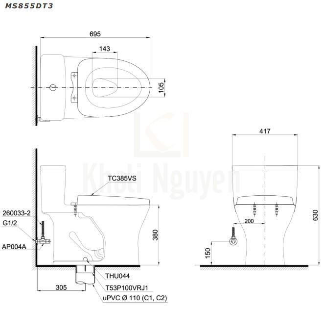 Bản Vẽ Bồn Cầu TOTO MS855DT3 Một Khối Nắp TC385VS
