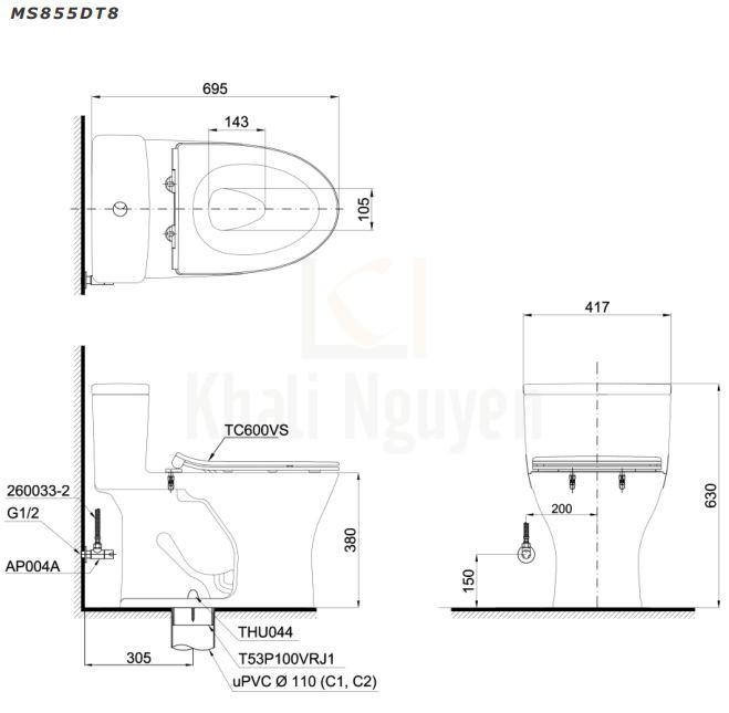 Bản Vẽ Bồn Cầu TOTO MS855DT8 Một Khối Nắp TC600VS