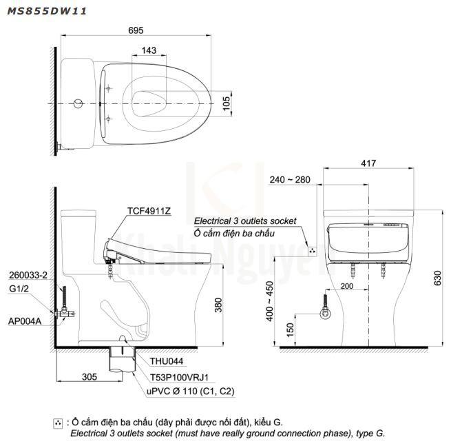 Bản Vẽ Bồn Cầu Điện Tử TOTO MS855DW11 Nắp Tự Động Đóng Mở
