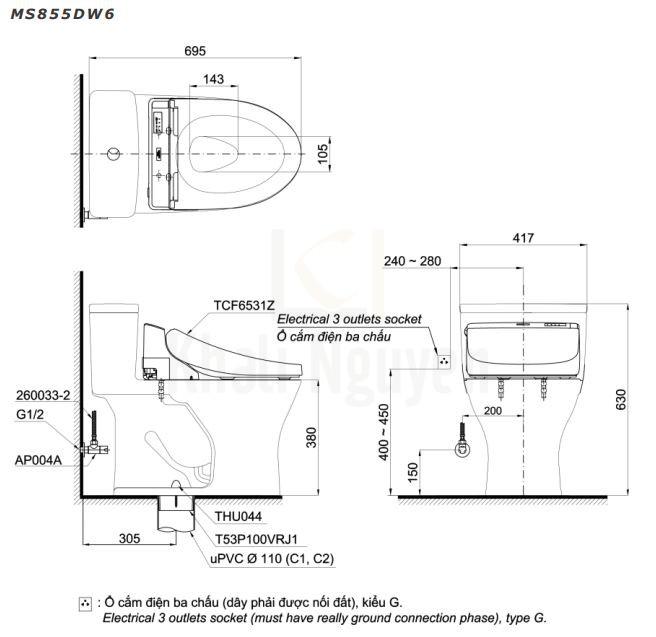 Bản Vẽ Bồn Cầu Điện Tử TOTO MS855DW6 Nắp Rửa Washlet