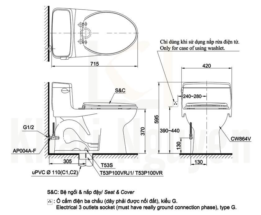 Bản Vẽ Bàn Cầu TOTO MS864E2 Một Khối Nắp Cơ