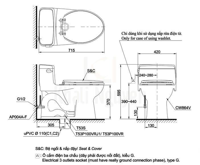 Bản Vẽ Bồn Cầu TOTO MS864E4 Một Khối Nắp Cơ
