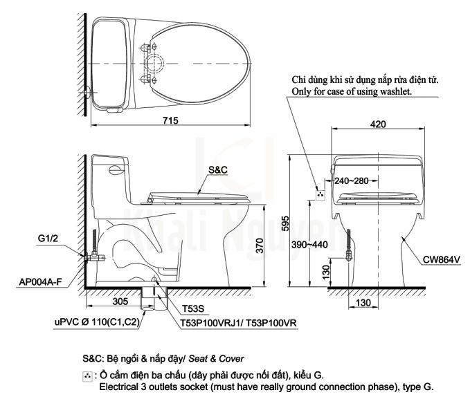 Bản Vẽ Bồn Cầu Điện Tử TOTO MS864W7 Nắp Rửa Washlet