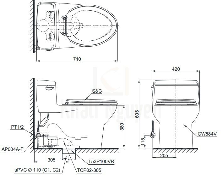 Bản Vẽ Bồn Cầu TOTO MS884T3 1 Khối Nắp TC385VS