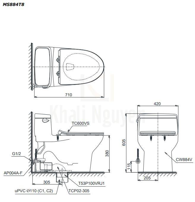 Bản Vẽ Bồn Cầu TOTO MS884T8 Một Khối Nắp TC600VS