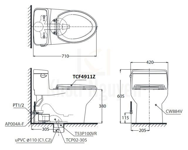 Bản Vẽ Bồn Cầu Điện Tử TOTO MS884W11 Nắp Tự Động Đóng Mở