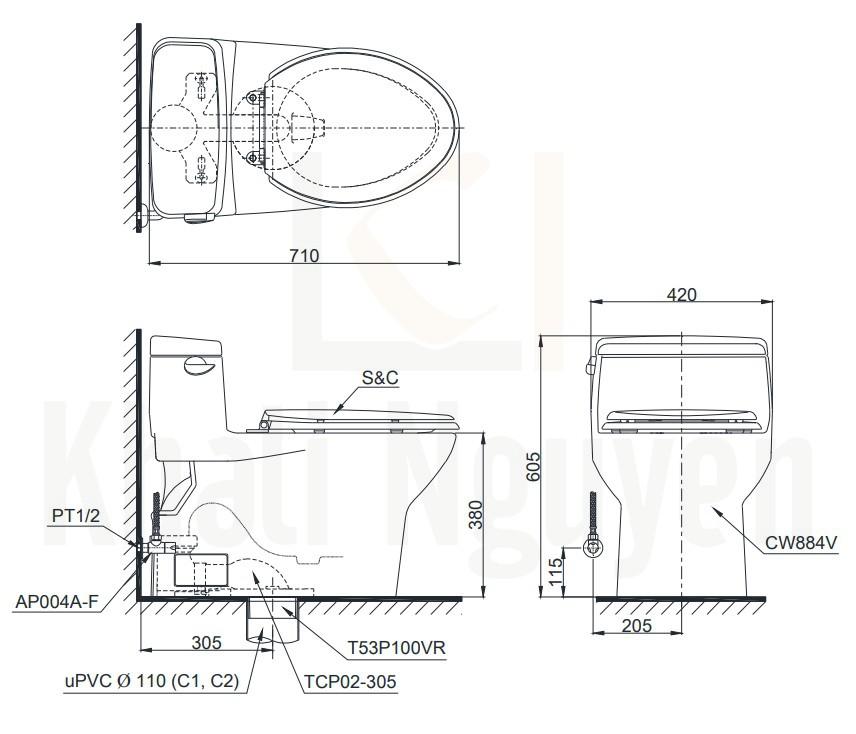 Bản Vẽ Bồn Cầu Điện Tử TOTO MS884W6 Nắp Rửa Washlet