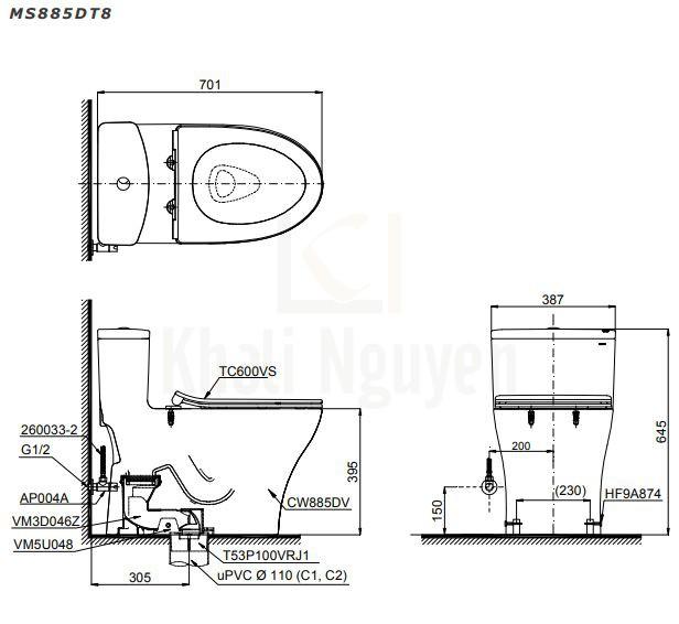Bản Vẽ Bồn Cầu TOTO MS885DT8 Một Khối Nắp Đóng Êm TC600VS