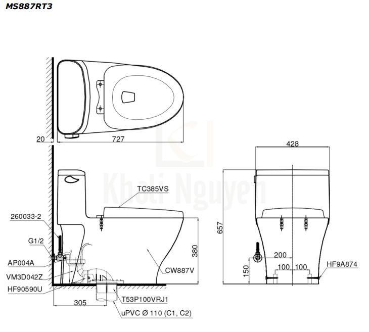 Bản Vẽ Bồn Cầu TOTO MS887RT3 Một Khối Nắp TC385VS