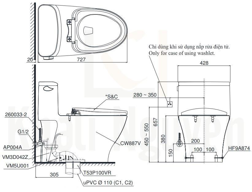 Bản Vẽ Bồn Cầu Điện Tử TOTO MS887RW7 Nắp Rửa Washlet