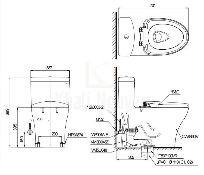 Bản Vẽ Bồn Cầu Điện Tử TOTO MS889DW4 (MS889DRW4) Nắp Tự Động Đóng Mở