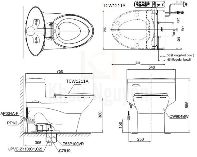 Bản Vẽ Bồn Cầu TOTO MS904E4 Một Khối Nắp Cơ