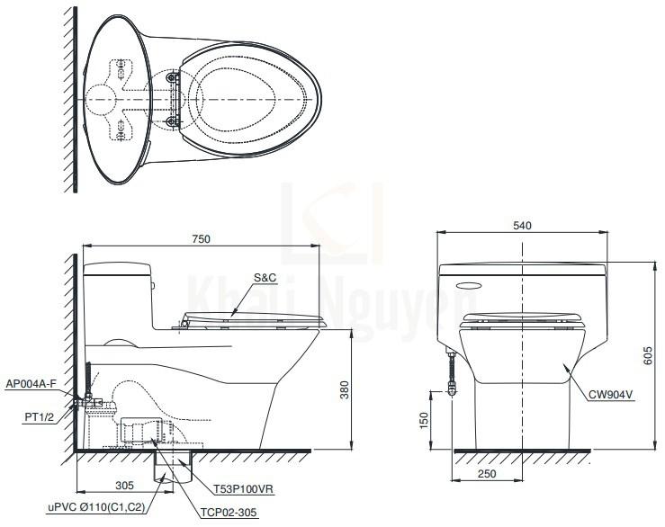 Bản Vẽ Bồn Cầu Một Khối TOTO MS904T2 Nắp Êm TC393VS
