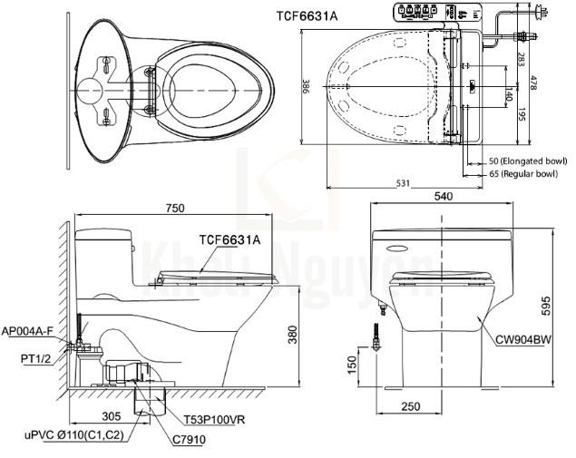 Bản Vẽ Bồn Cầu Điện Tử TOTO MS904W7 Nắp Rửa Washlet