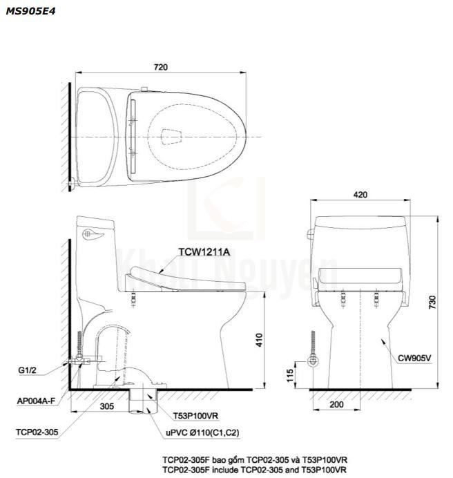 Bản Vẽ Bàn Cầu TOTO MS905E4 Một Khối Nắp Cơ
