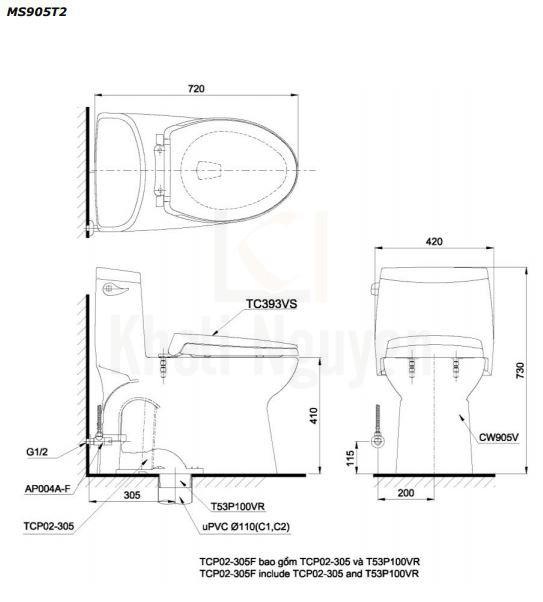Bản vẽ Bồn Cầu Một Khối TOTO MS905T2 Nắp TC393VS