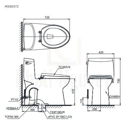 Bản Vẽ Bồn Cầu TOTO MS905T3 Một Khối Nắp TC385VS