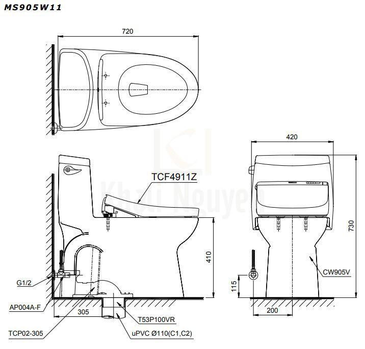 Bản Vẽ Bồn Cầu Một Khối TOTO MS905W11 Nắp Rửa WASHLET