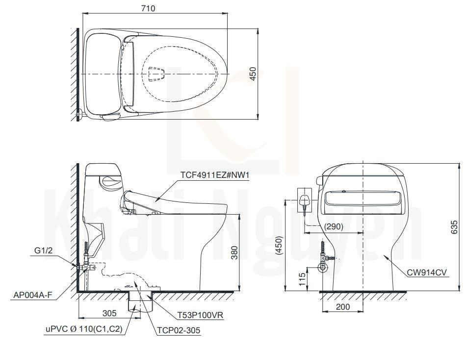 Bản Vẽ Bồn Cầu Một Khối TOTO MS914CRW12 Nắp WASHLET