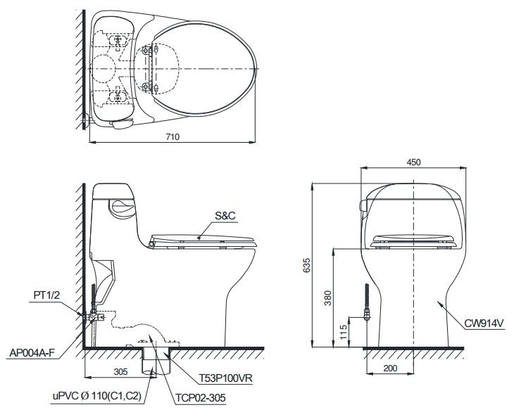 Bản Vẽ Bàn Cầu TOTO MS914RT2 Một Khối Nắp Êm TC393VS