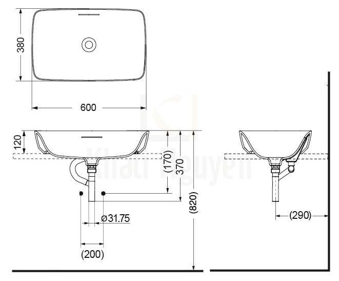 Bản Vẽ Chậu Rửa Lavabo TOTO PJS06WE#MW Đặt Bàn