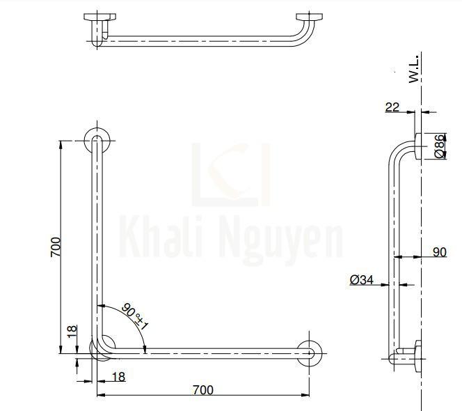 Bản Vẽ Thanh Tay Vịn Nhà Tắm TOTO T112CL9#SC1/T110D3R(x3) Chữ L