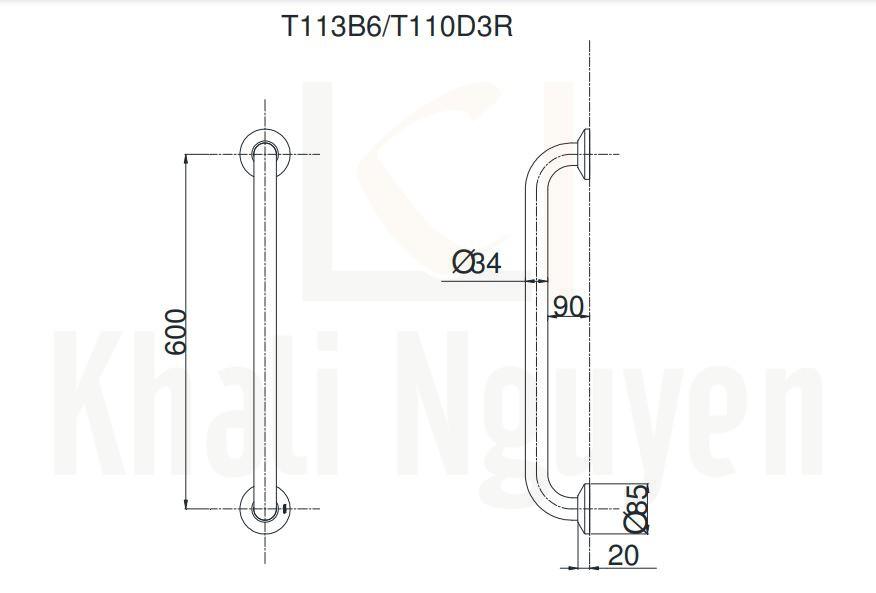 Thanh Tay Vịn Nhà Tắm TOTO T113B6/T110D3R(x2) Chữ L