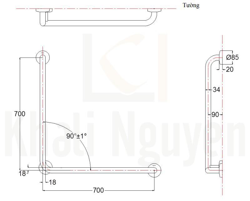 Bản Vẽ TOTO T113BL9/T110D3R(x3)