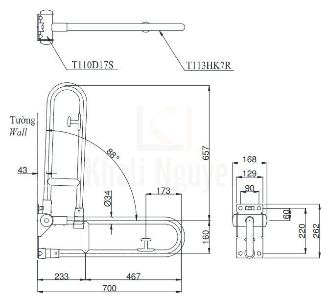 Bản Vẽ Thanh Tay Vịn Nhà Tắm TOTO T113HK7R/T110D17S