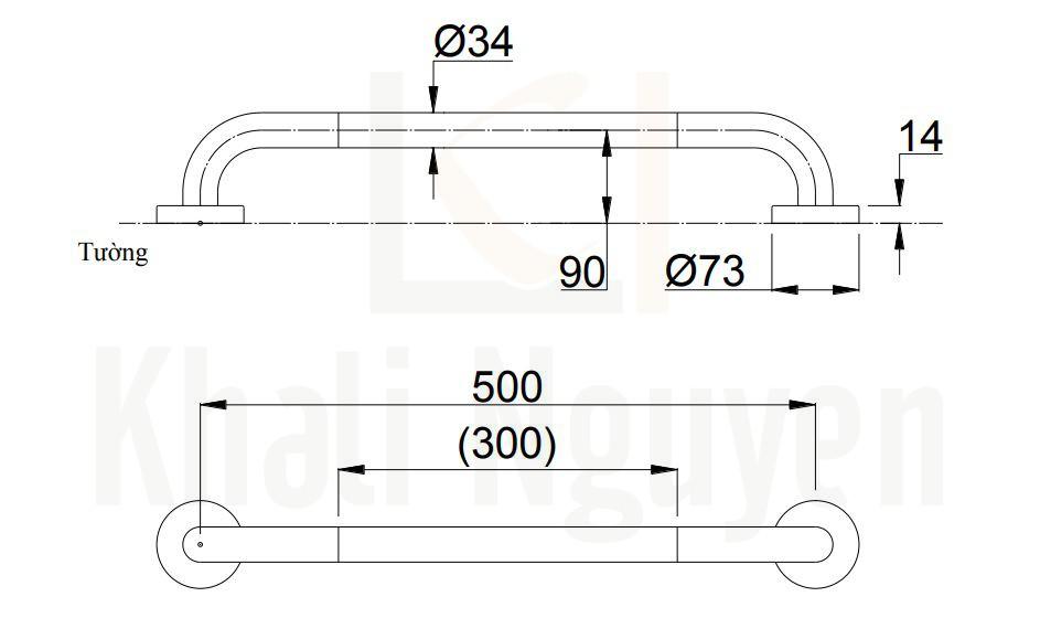 Bản Vẽ Thanh Tay Vịn TOTO T114C5#MLAT110D3R(x2)