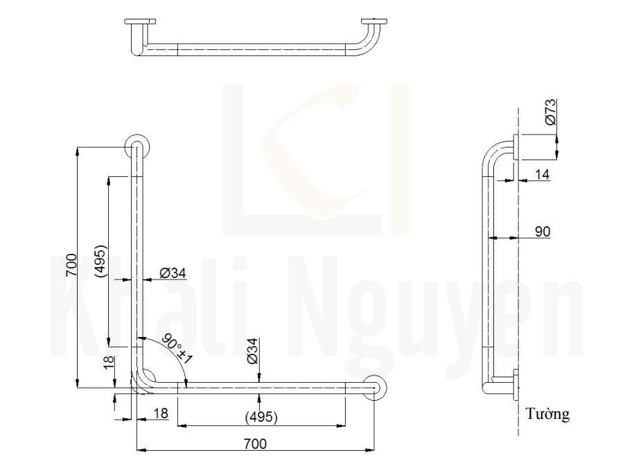 Bản Vẽ Thanh Tay Vịn Nhà Tắm TOTO T114CL9#NW1T110D3R(x3)