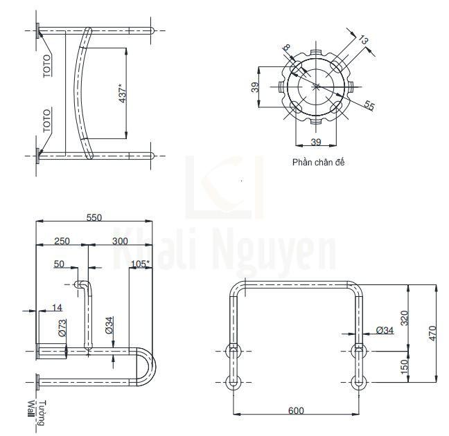 Bản Vẽ Thanh Tay Vịn Nhà Tắm TOTO T114CU22#ML/AT110D3R(x4)