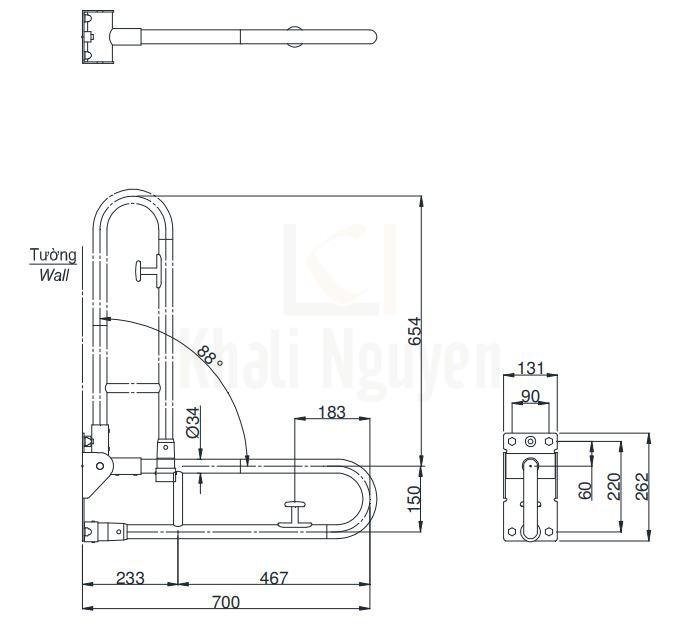 Bản Vẽ Thanh Tay Vịn Nhà Tắm TOTO T114HK7RMLAT110D17S