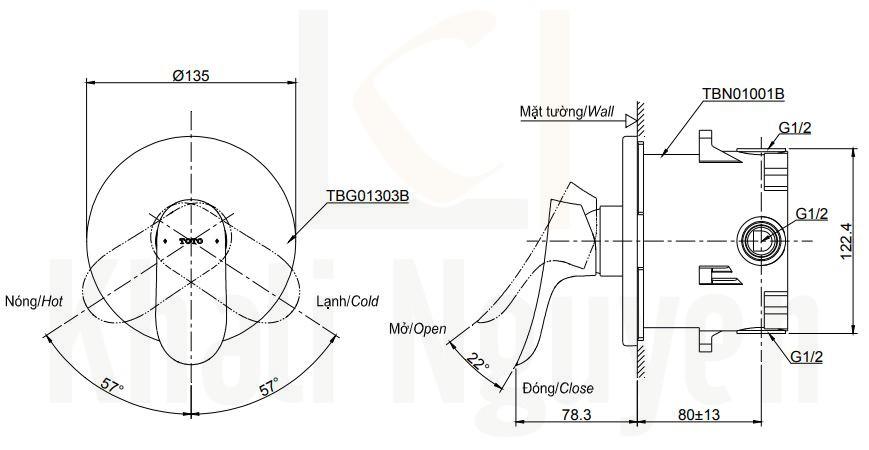 Bản Vẽ Van Điều Chỉnh Nóng Lạnh TOTO TBG01303B/TBN01001B