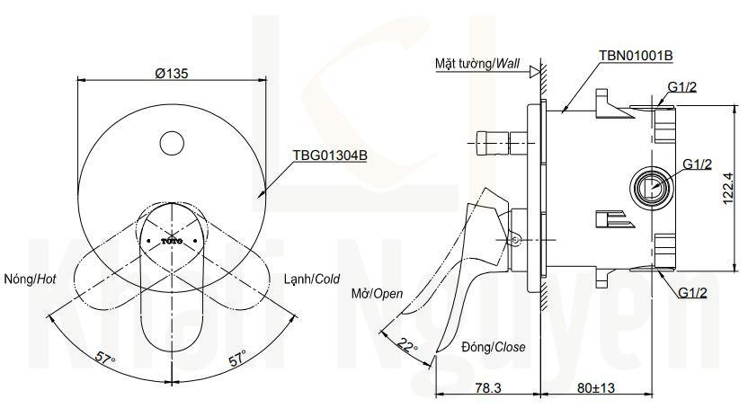 Bản Vẽ Van Điều Chỉnh Nóng Lạnh TOTO TBG01304B/TBN01001B