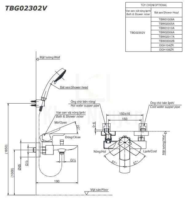 Bản Vẽ Sen Tắm TOTO TBG02302V/DGH108ZR Tay Sen 5 Chế Độ