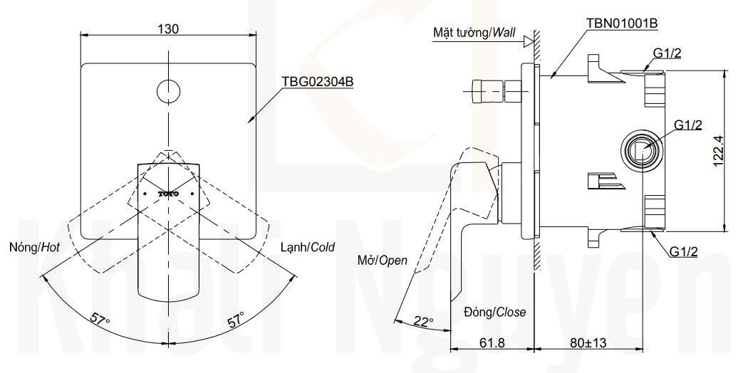 Bản Vẽ Van Điều Chỉnh Nóng Lạnh TOTO TBG02304B/TBN01001B