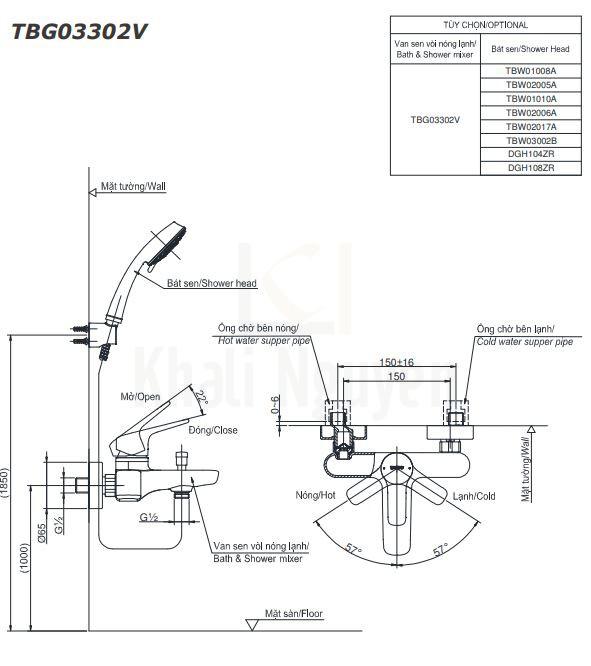 Bản Vẽ Sen Tắm TOTO TBG03302V/DGH108ZR Tay Sen 5 Chế Độ