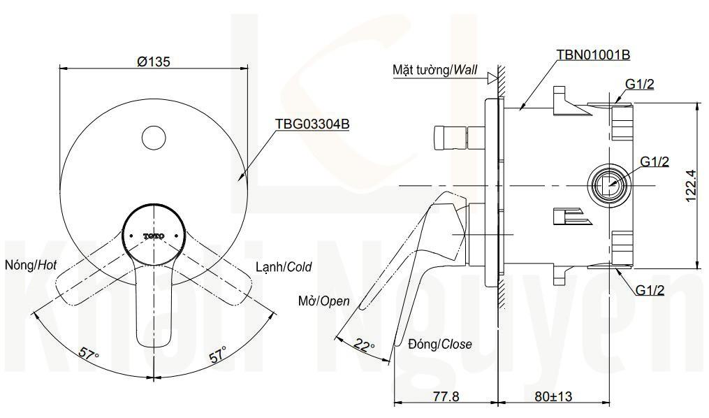 Bản Vẽ Van Điều Chỉnh Nóng Lạnh TOTO TBG03304B/TBN01001B