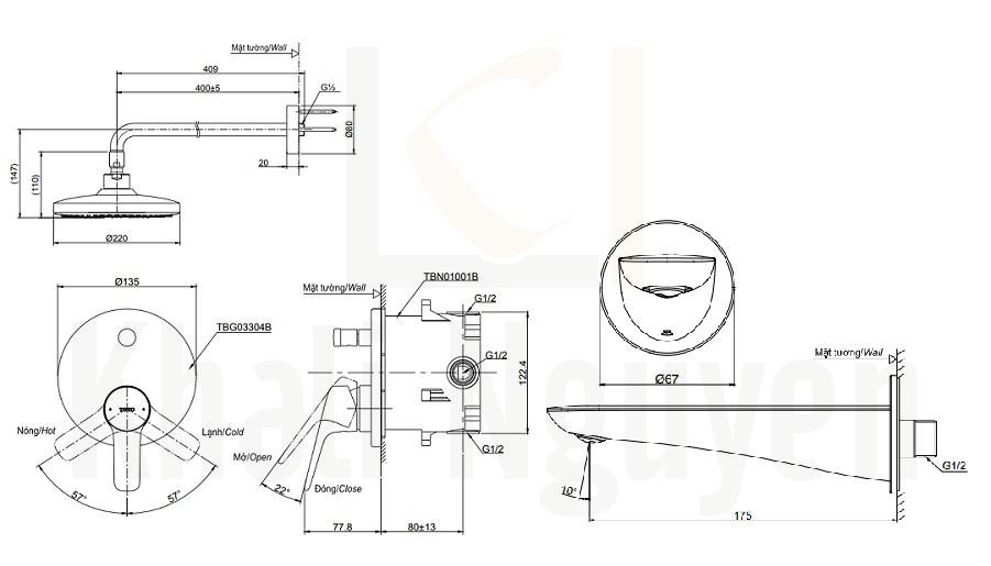 Bản Vẽ Sen Tắm TOTO TBG03304B/TBW01004A/TBG01001B Âm Tường Xả Bồn