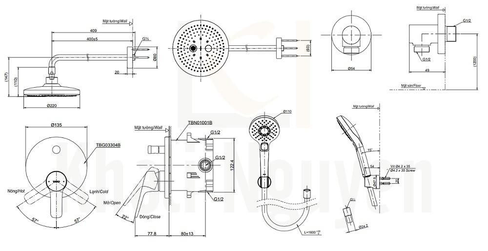 Bản Vẽ Sen Tắm TOTO TBG03304B/TBW01004A/TBW01010A Âm Tường